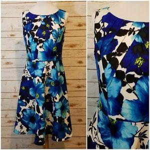 Blue Floral Pleat Neck Dress